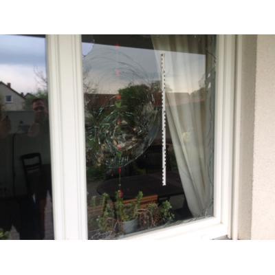 Am Ende versuchten die frustrierten Einbrecher offenbar mit Betonsteinen und Blumenkübeln, die Sicherheitsfenster zu knacken.